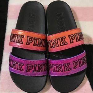 VS Pink Ombre Shimmer Double Strap Sport Slides